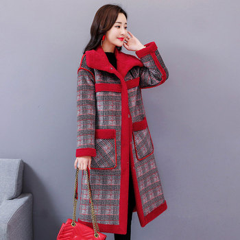 New Wool Liner Fur Coat Women Autumn and Winter 2019 Fashion Medium-long Thick Warm Plaid Blends Outerwear