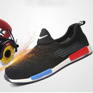 Image 3 - 2019 respirável aço nariz sapatos de segurança homem leve verão anti esmagamento piercing trabalho única malha tênis masculino e feminino