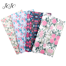 JOJO BOWS 22*30cm 1pc Faux Synthetic Leather Fabric For Needlework Flower Printed Sheet For Bows Party Decoration Apparel Sewing jojo bows 22 30cm 1pc synthetic leather fabric for crafts mermaid printed faux sheet for needlework bag apparel sewing materials
