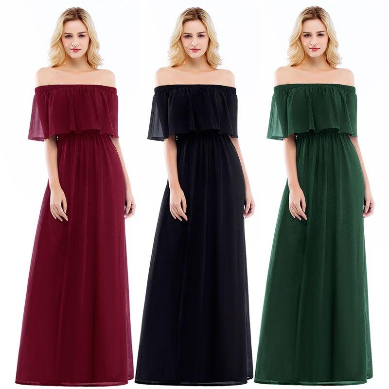 Elegant Boat Neck Chiffon Bridesmaid Dress Dark Green Prom Dresses Long Party Formal Dress Vestido Longo