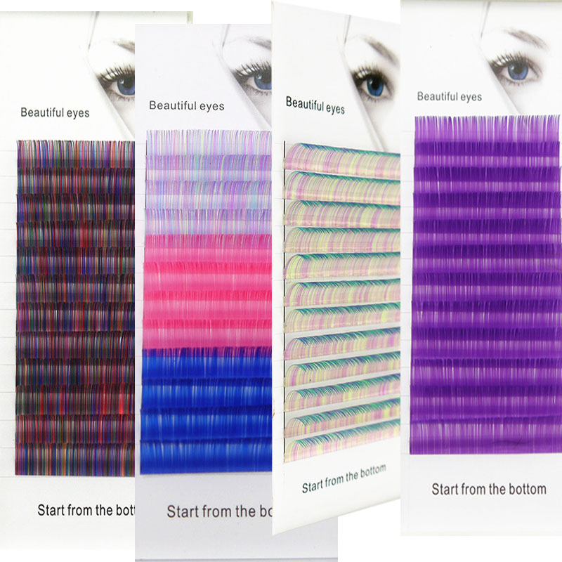 High Capacity C/D Curl 0.07/0.1mm 8-15mm False Lashes Blue+green Eyelash Individual Colored Lashes Faux Eyelash Extensions