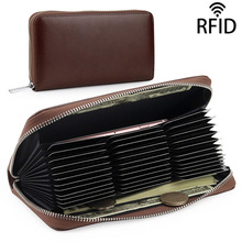Unisex Credit Card Holders Long Men Business ID Card Case big RFID Card Holder Genuine Leather Women Purse Bank Card Wallets 2018 new fashion unisex credit card holders genuine leather multi pvc card slots metal hasp business card id holders cow leather
