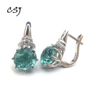 CSJ Green quartz gemstone noble good Earring Sterling 925 Silver Round8.0 4Ct football cut Fine Jewelry For Women Lady Gift
