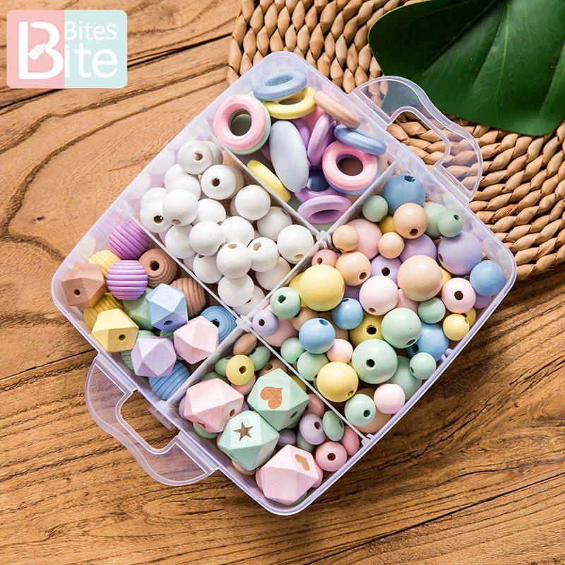 Bite Bites 1set Baby Wooden Teether DIY Pacifier Clip Chain Wodoen Blank Rodent Threaded Beads Beech Rings Children'S Goods Toys