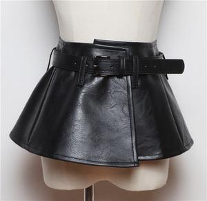 Image 3 - Женский ремень с баской CETIRI, черный пояс из искусственной кожи с бантом, широкий пояс для платья