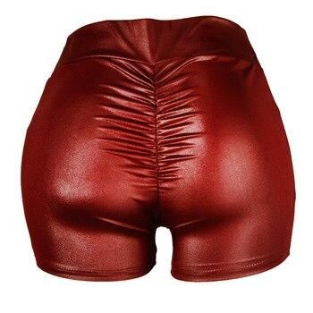 Women PU Leather Shorts High Waist Femme Sexy Slim Solid Faux Leather Short Pants Fashion Elastic Push up Mini Hot Shorts