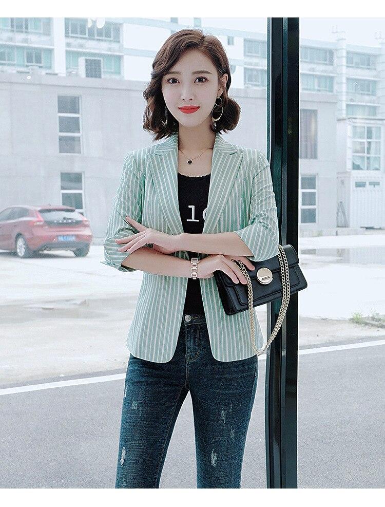 2020 spring and autumn women's jacket coat feminine Temperament Slim Stripe Cropped Sleeve Women's Blazer Top