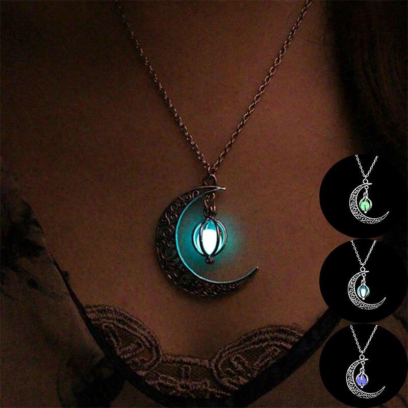 2019 collar de Luna brillante gema encanto joyería plateado mujeres 4 colores piedra colgante hueco luminoso collar regalos