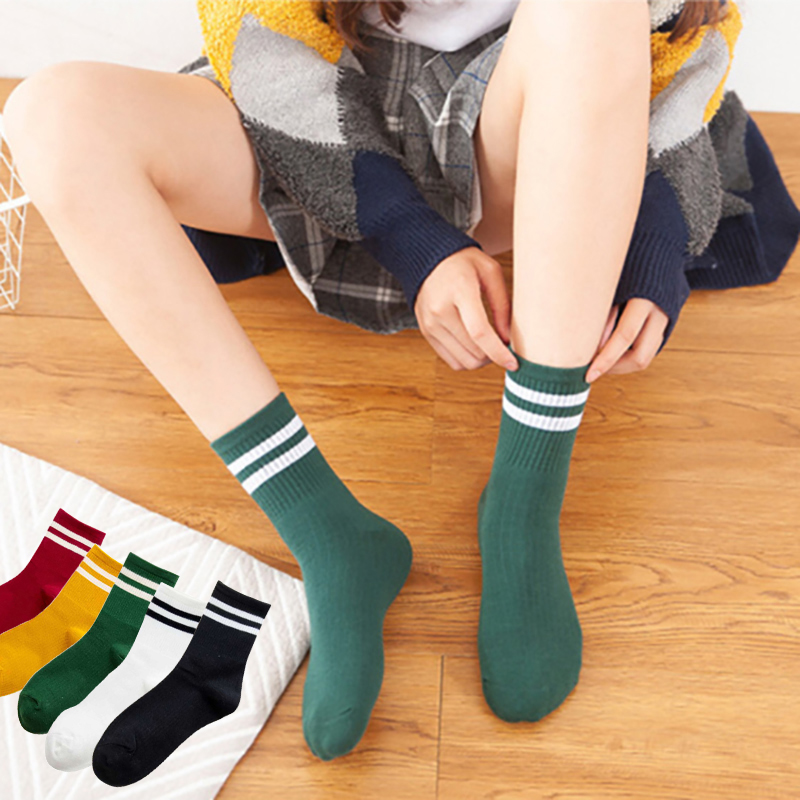 5pair/Set Women Socks Cotton Funny Cute Socks Girl Retro Socks Loose Striped Cartoon Animal Candy Colors Socks