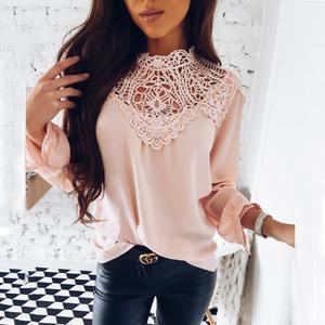 Blusa feminina solta elegante, camisa solta de cor sólida com renda, manga longa, top