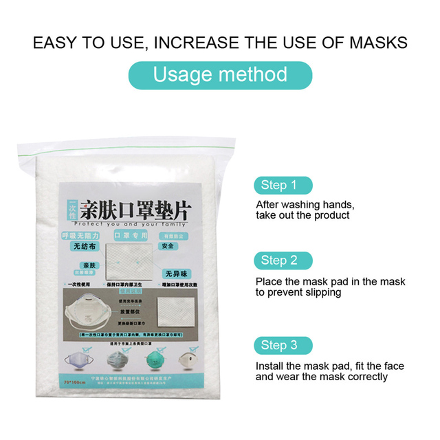 Flu Facial Masks Newly Mask Pad 100PCS Disposable Mask Pad Protection Gasket Mask Filter Non-woven Fabric Dust-free Hygiene MK 2