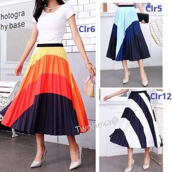 Fashion Women Spring Summer Tulle Skirt Elastic High Waist Contrast Block Print Pleated Skirt Faldas Mujer Midi Skirts drawstring waist color block letter skirt