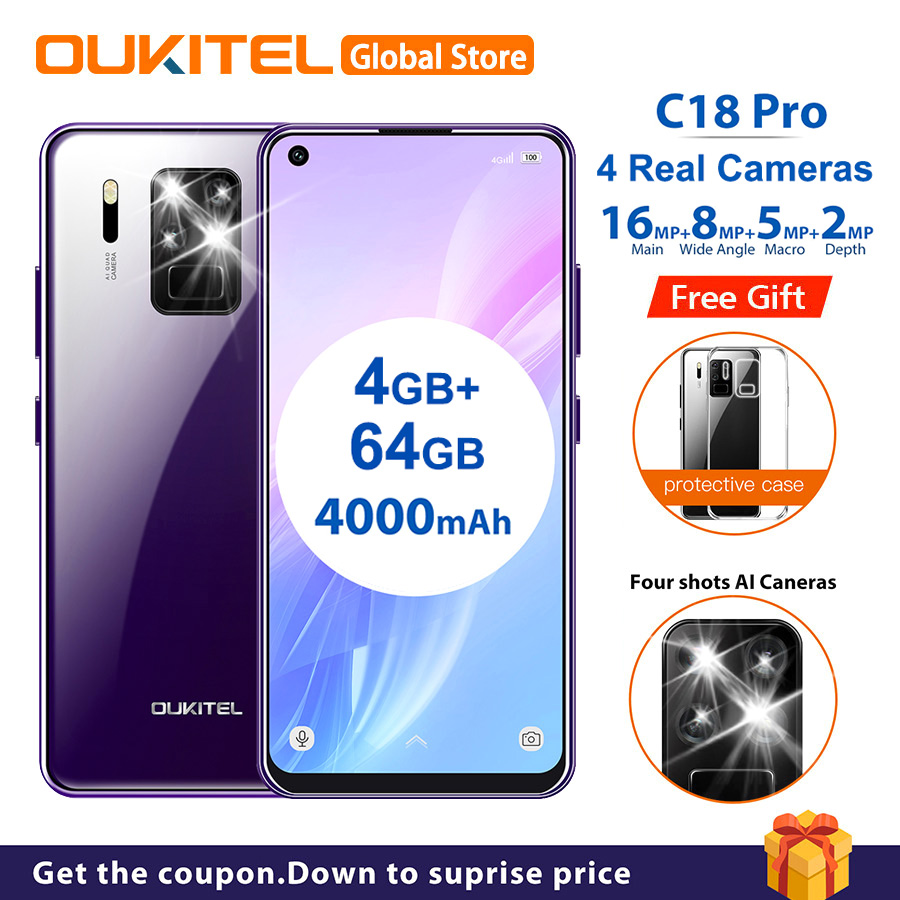 """OUKITEL C18 Pro 6.55"""" Android 9.0 MT6757 4GB 64GB 4 Rear Cameras Smartphone 1600*720 4000mAh Octa Core Face ID 4G Mobile Phone(China)"""