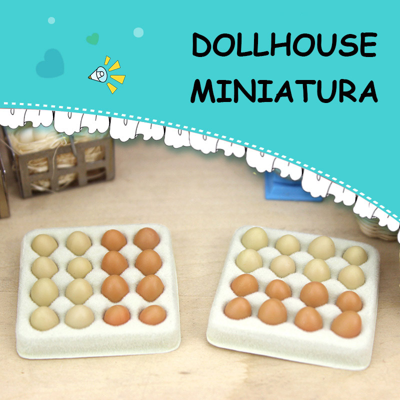 1:12 Dollhouse Miniature Egg Carton Kitchen Miniatures Eggs Dollhouses Food Model Toys For DIY Doll House Decoration Accessories