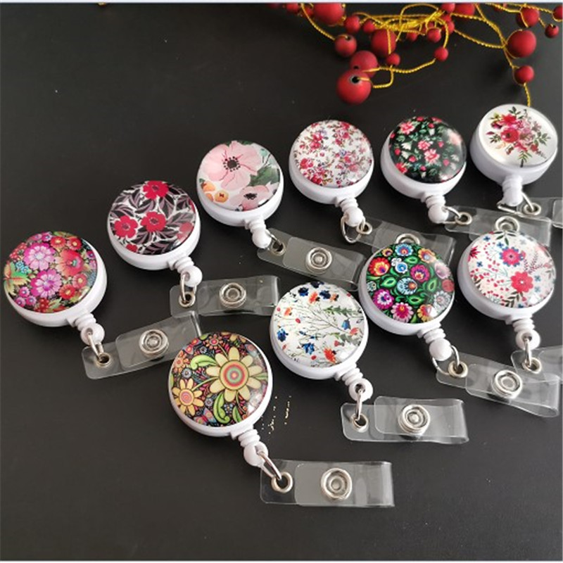 Flower Pattern Retractable Badge Nurse Pull Buckle Cute Universal Clip Small Lanyard Student Stationery Wholesale
