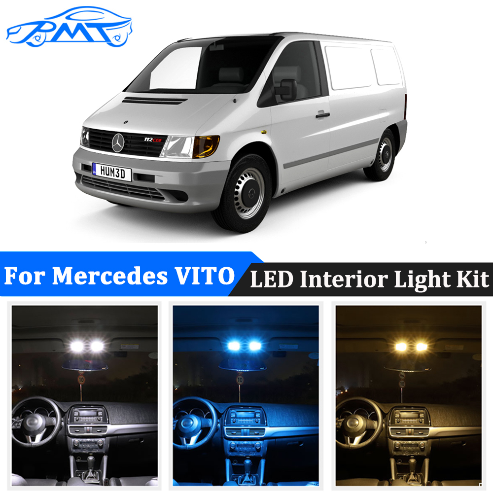 BMT Car LED Interior Dome Light License Plate Lamp Canbus For <font><b>Mercedes</b></font> <font><b>Benz</b></font> <font><b>Vito</b></font> <font><b>W638</b></font> W639 W447 (1996-2018) led Bulbs No Error image