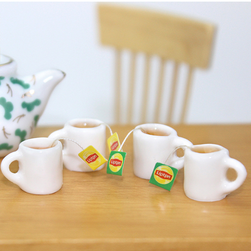 2pcs Miniature Food Drink Tea 1:12 Dollhouse Miniature Doll Food For BJD Kitchen Drinks Green Tea Cup DIY Doll House Accessories