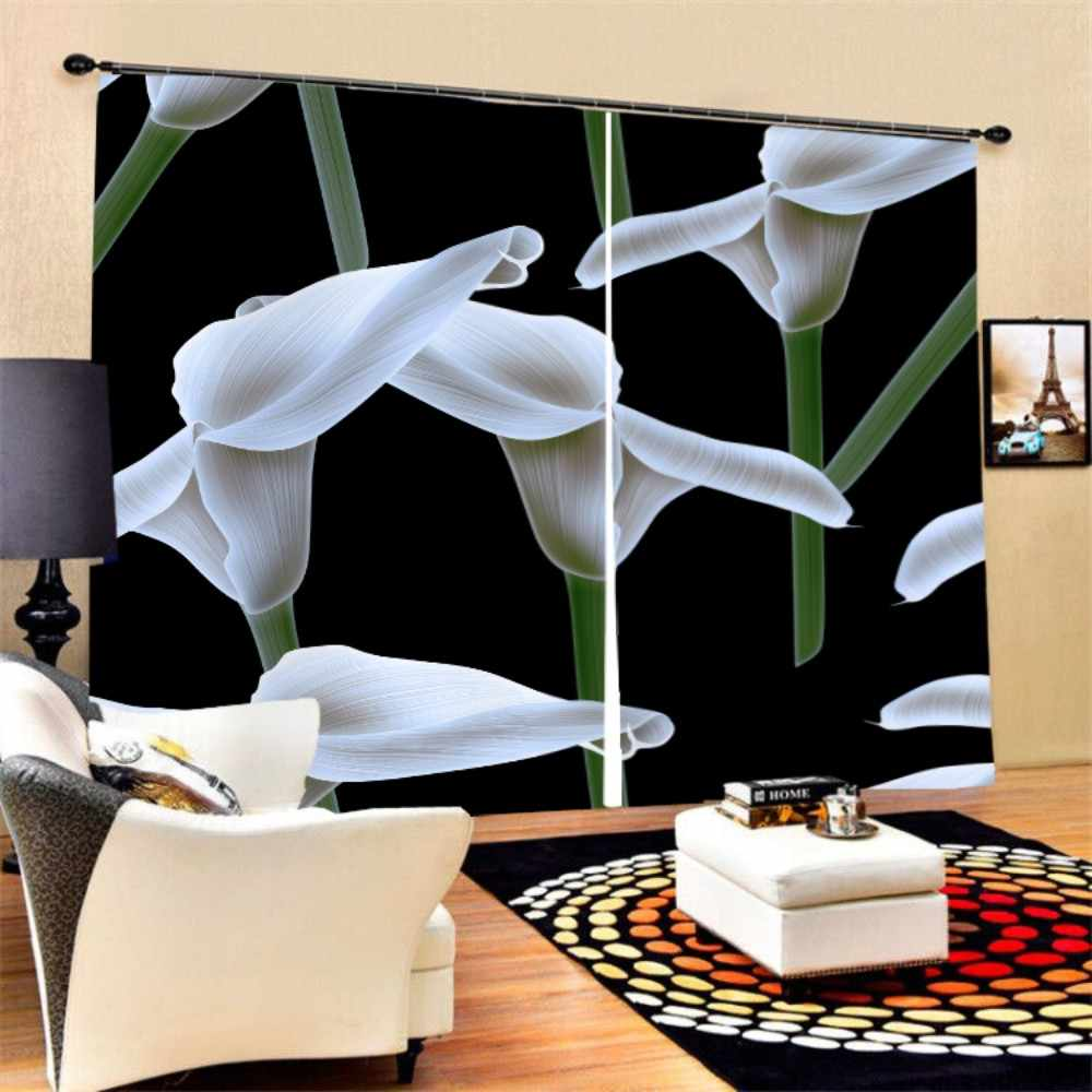3D Print Fresh Flowers Window Curtain Soft Polyester Black-out Curtain for Bedroom Living Room Bath Room Decor,2 Panels