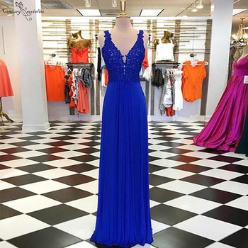 Royal Blue Backless Bridesmaid Dresses Long Lace Appliques Beaded Chiffon Maid Of Honor Gowns Prom Dress Wedding Party Gowns