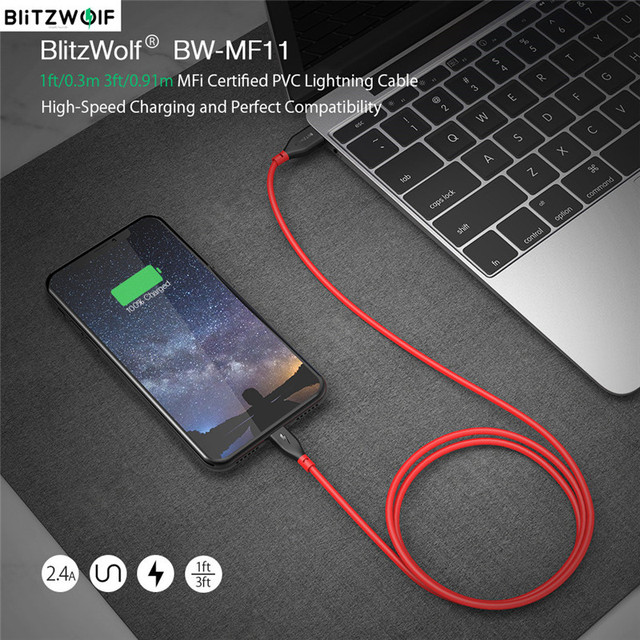 BlitzWolf BW MF11 2.4A USB Male To Lightning Cable Fast Charging Data Transfer Cord Tablet Phone Line For IPhone 12 With MFi