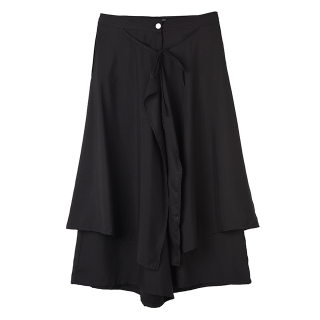 [LANMREM] 2020 New Spring Summer High Waist Pocket Fake Two Pieces High Waist Long Halfbody Pants Black Trousers TV78301M