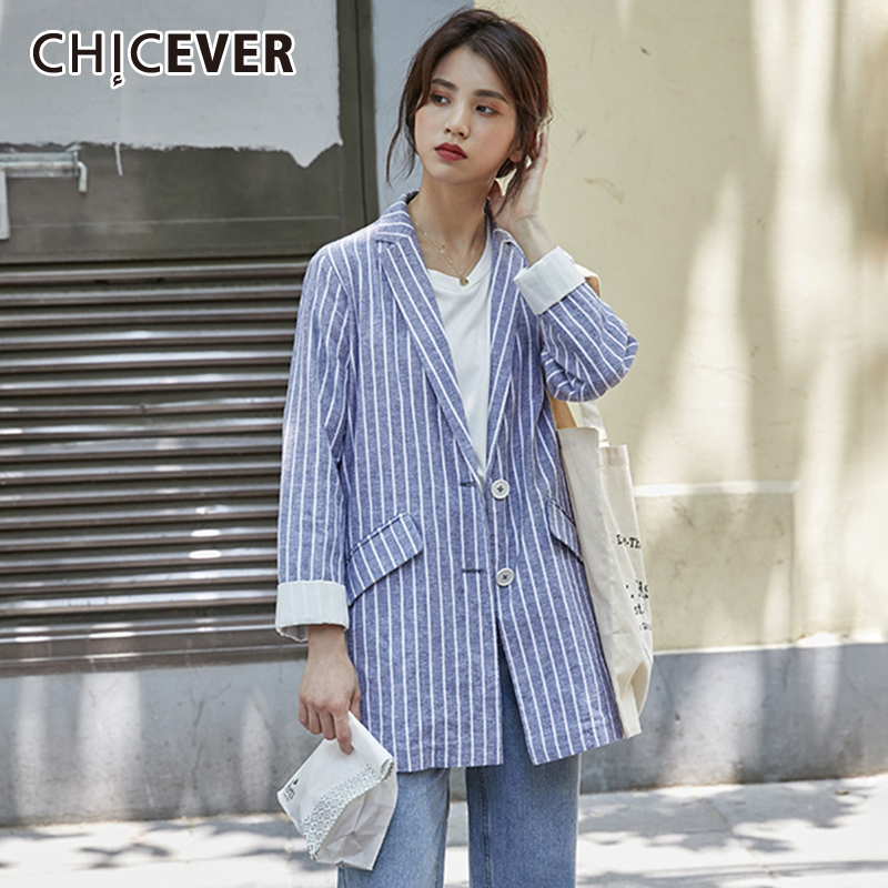 CHICEVER Striped Hit Color Women's Blazer Notched Collar Long Sleeve Pocket Oversize Loose Coat Female 2019 Autumn Fashion New