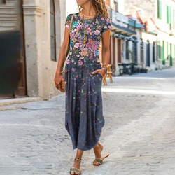 Vintage Floral Printed Dresses Women Casual O Neck Pocket Loose Long Dress Female Plus Size Beach Vacation Party Maxi Dress