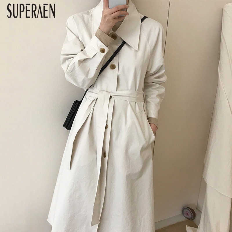 SuperAen Korean Style   Trench   Coat for Women Autumn New 2019 Solid Color Lapel Single-breasted Ladies Windbreaker Casual Fashion