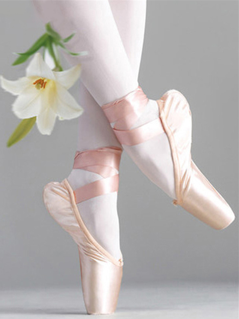 Ribbon Dancing-Shoes Pointe Women's Satin Girls Upper with Pink Professional Flower'