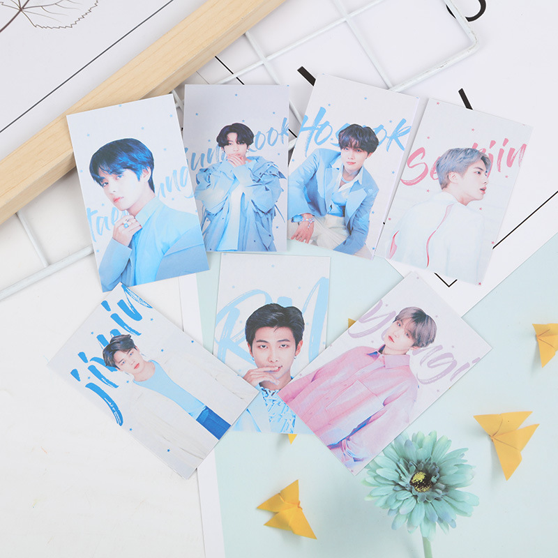 7 Pcs/lot Kpop JUNG KOOK SUGA RM JIMIN V JHOPE JIN Small Paper Card KPOP BOYS Album Magazine Postcard Toy Gift