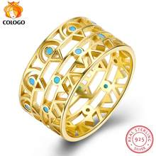 COLOGO HOT SALE Real 925 Sterling Silver Ring Wide Openwork Gold plating Ring Female Wedding Birthday Jewelry Fine Gift LKN0024(China)
