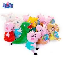 Оригинальные 19 см Свинка Пеппа Джордж Животные Мягкие плюшевые игрушки мультфильм семья друг свинка вечерние куклы для девочек подарок на день рождения и Рождество