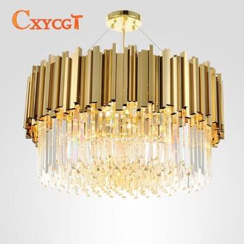 Modern Lampu Gantung Kristal Emas Kristal Mewah Lampu Gantung untuk Ruang Tamu Ruang Makan Lampu Gantung Lampu LED