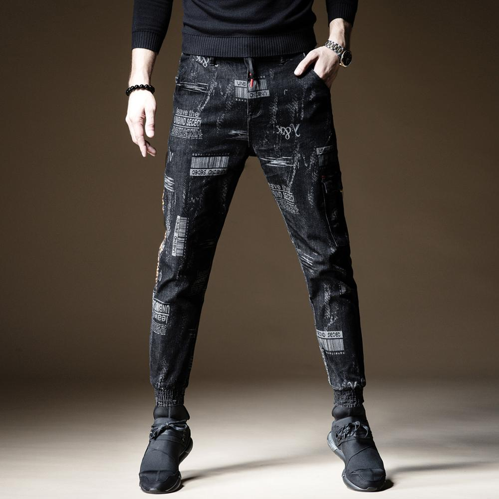 Free Shipping 2019 New Men's Male Denim Pants Autumn Printed Jeans Elastic Waist Loose Feet Korean Version Harlan Pants Trousers