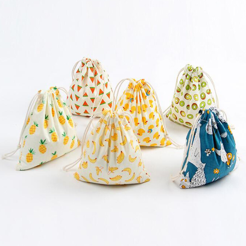 3 Pack Drawstring Cotton Shopping Bags Cute Fruits Printed Daily Storage Bags For Women Kids Christmas Candy Jewelry Organizer