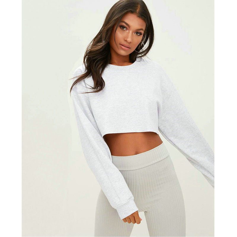 New Fashion Elegant Streetwear Womens Casual Long Sleeve Jumper Sweater Crop Top Pullover Tops