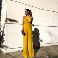 Sexy sleeveless hanging neck slim jumpsuit women's summer yellow jumpsuit for women 2019 elegant wide leg pants bodysuit women