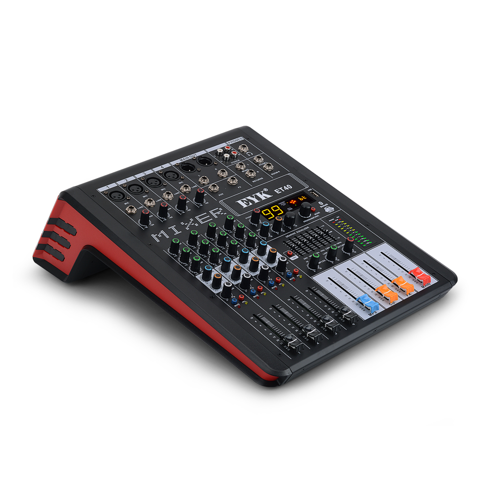 EYK ET40 4 Channels Professional Audio Mixer dj Studio 7 BAND EQ 99DSP USB Bluebooth Recording Mixing Console with AUX FX Output
