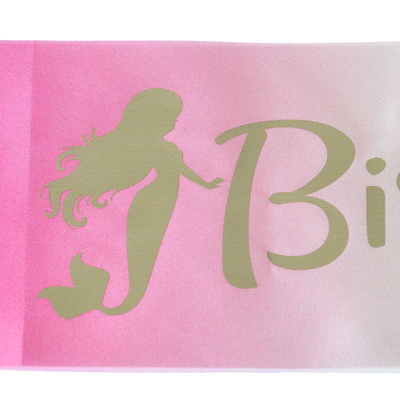 Blanco rosa sirena cumpleaños niña satén faja dulce 16 princesa 18 a 20 feliz suministros de decoración para fiesta de cumpleaños