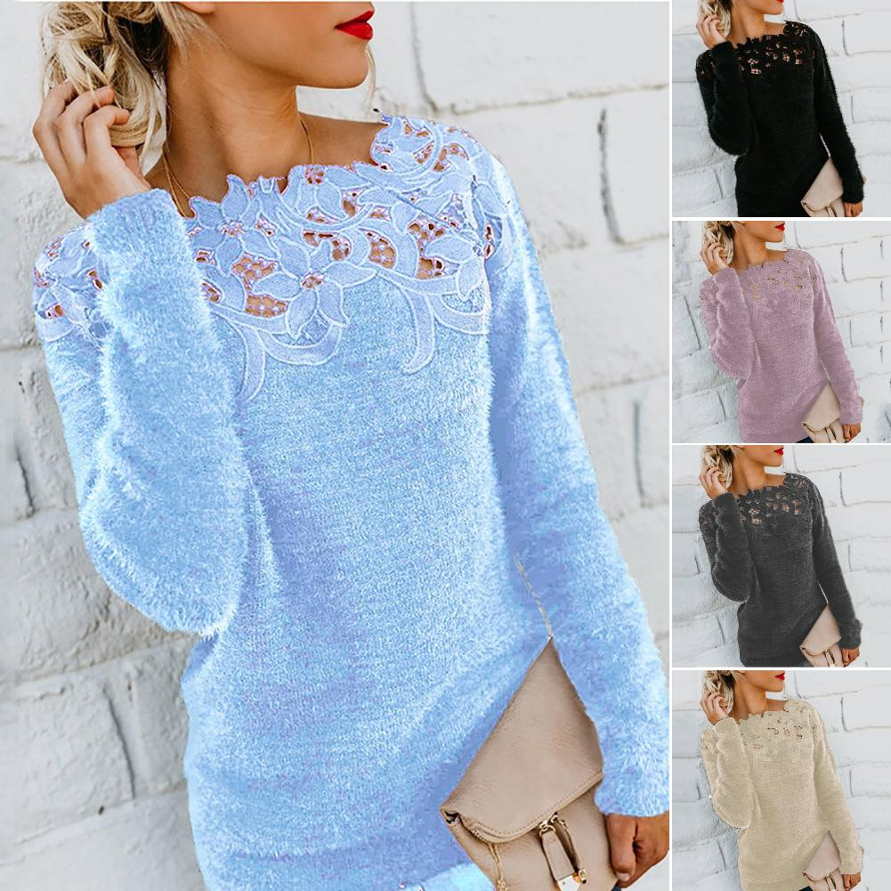 Women Solid Color Long Sleeve O Neck Floral Lace Pullover Plus Size Sweater
