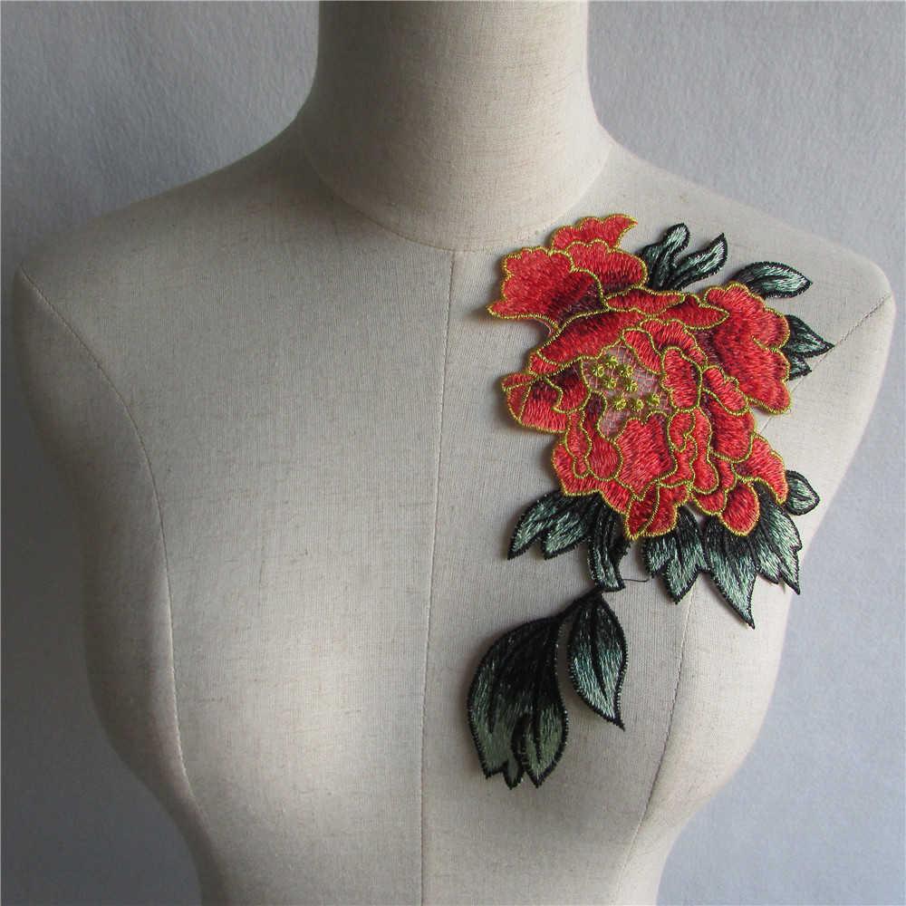 ลูกไม้ 3D เสื้อผ้าดอกไม้เย็บปักถักร้อย applique DIY CRAFT เย็บลูกไม้ผ้าตัด Venise อุปกรณ์ตกแต่งคอ