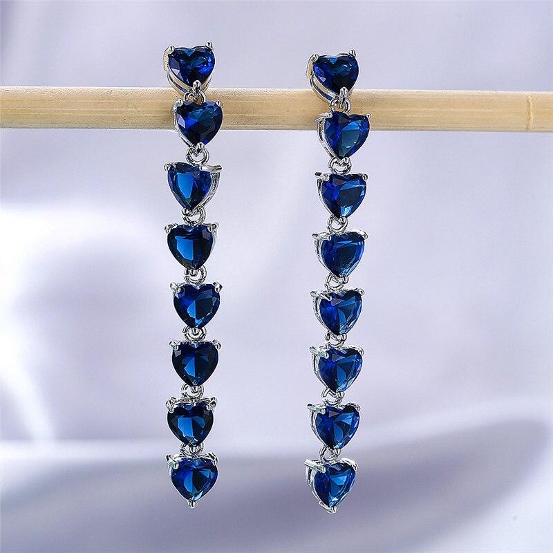 Vintage Female Blue Crystal Drop Earrings Rose Gold Silver Color Dangle Earrings Simple Rainbow Heart Wedding Earrings For Women