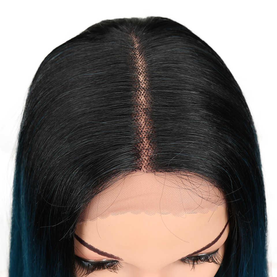 Pelo mágico 20 pulgadas pelucas frontales de encaje sintético pelucas resistentes al calor Ombre para mujeres negras pelucas largas rectas color rosa negro