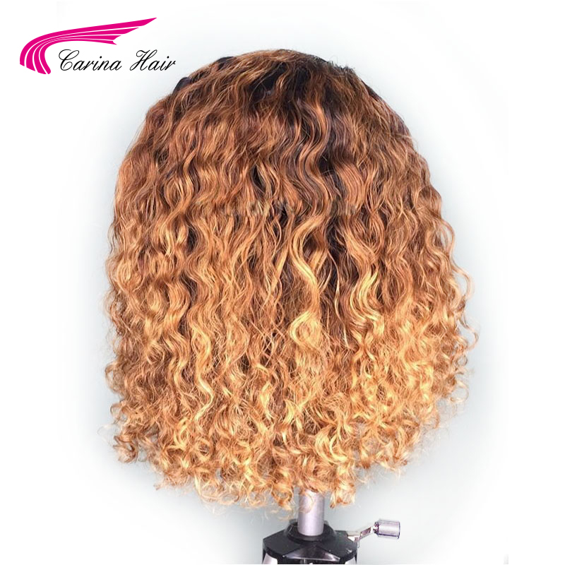 Image 3 - Carina Ombre Color Lace Front Human Hair Wigs 13*3 Lace Brazilian Curly Remy Hair Pre Plucked-in Lace Front Wigs from Hair Extensions & Wigs