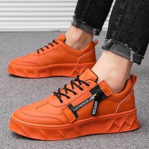 Image 2 - 2019 Men Shoes Pu Leather Solid Trainers Shoes Breathable Lace Up White Shoes Men Zapatillas Hombre Casual Shoes Men
