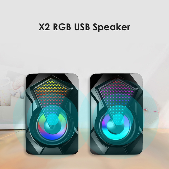Stereo Sound Surround Loudspeaker X2 RGB Computer Speakers USB Powered 3Wx2 Bass Speakers for Desktop Laptop PC 1