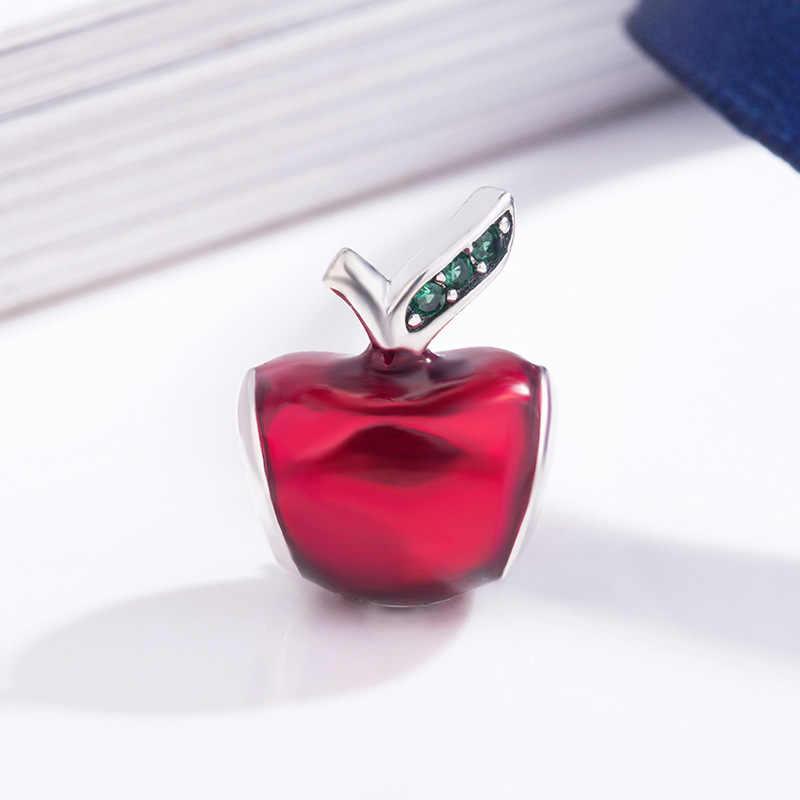 Frete grátis authentic 925 prata esterlina neve vermelha maçã encantos caber pulseira pandora original para as mulheres diy jóias contas