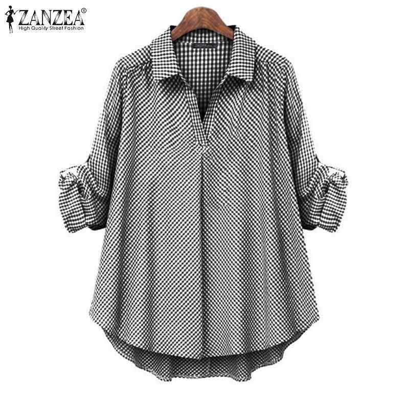 ZANZEA Elegant ผู้หญิงลายสก๊อตเสื้อ 2020 แฟชั่นผู้หญิงสบายๆฝ้ายผ้าลินินแขนยาว Tunic Tops Blusas Femininas PLUS ขนาด