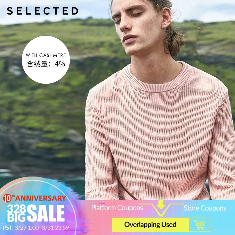 SELECTED Men's Cotton-blend Round Neckline Pullover Sweater New Figured Weave Knitted Clothes S   419124526