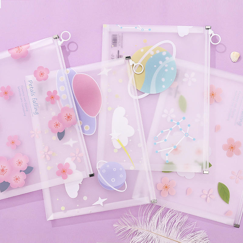 1PCS Lovely Flower A4 Stars Series Transparent PP Papers Books Office File Folder Document Bags Storage Stationery Gifts